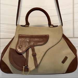Christian Dior Saddlebag Leather/Canvas Handbag